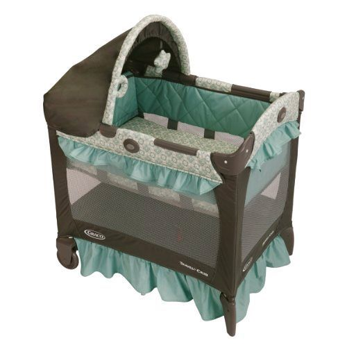 Graco Crib Playard Baby Infant Bassinet Canopy Carrying Bag Brown Blue Green  sc 1 st  Pinterest & Graco Crib Playard Baby Infant Bassinet Canopy Carrying Bag Brown ...