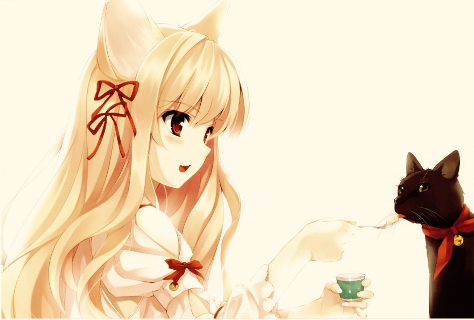 Sorry Its Not Clear That There S A Cat There Is This Is A Blonde Haired Girl With Wolf Ears Feeding Her Black Cat Nekomimi Neko Girl Cute Anime Cat