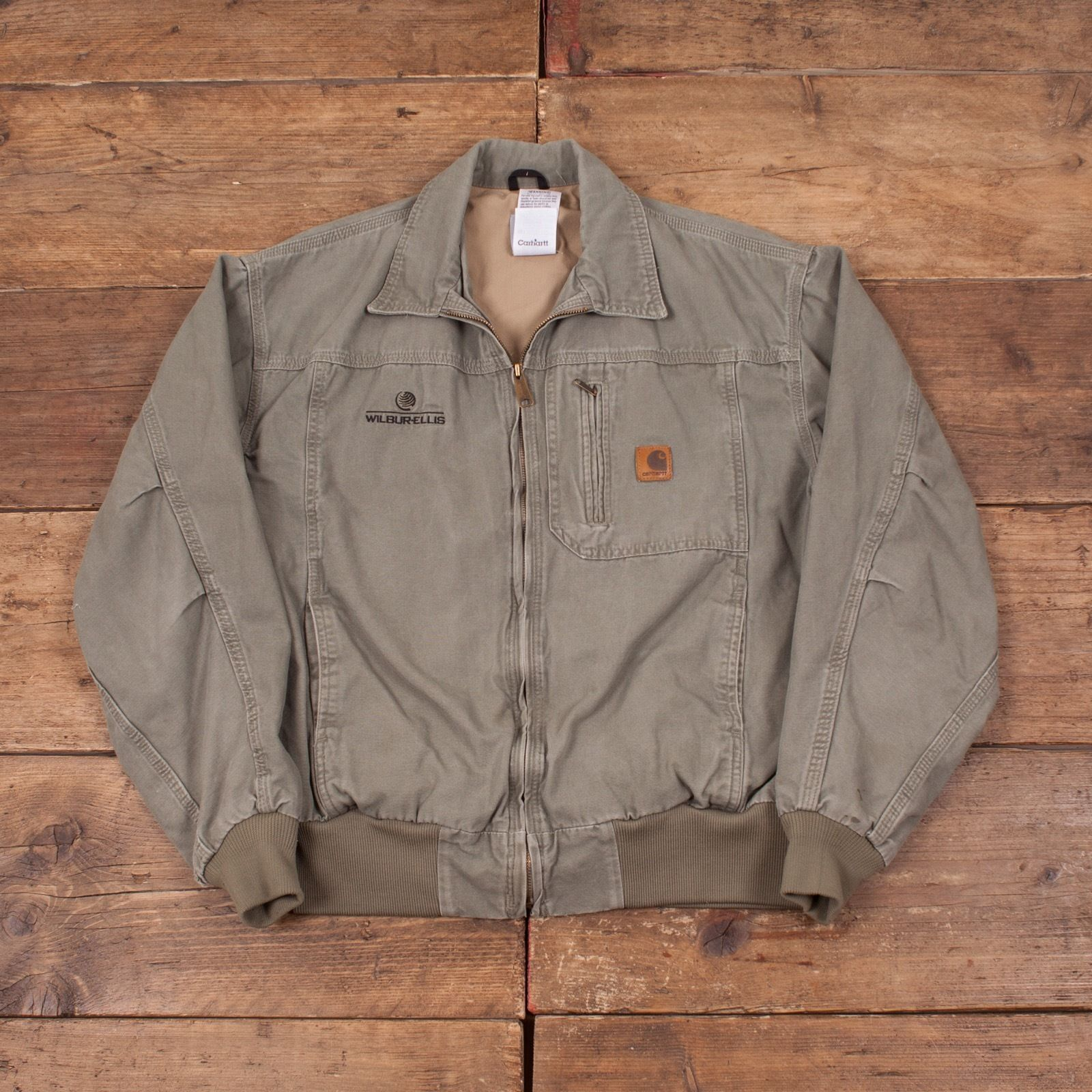 Mens Vintage Zip Up Carhartt Lined Workwear Green Jacket Size L 44 ...