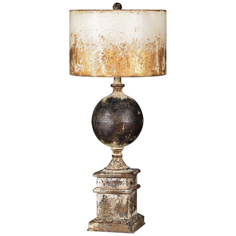 Shiloh Weathered Metal Cream Black And Brown Table Lamp 70a62 Lamps Plus Brown Table Lamps Metal Table Lamps Led Table Lamp