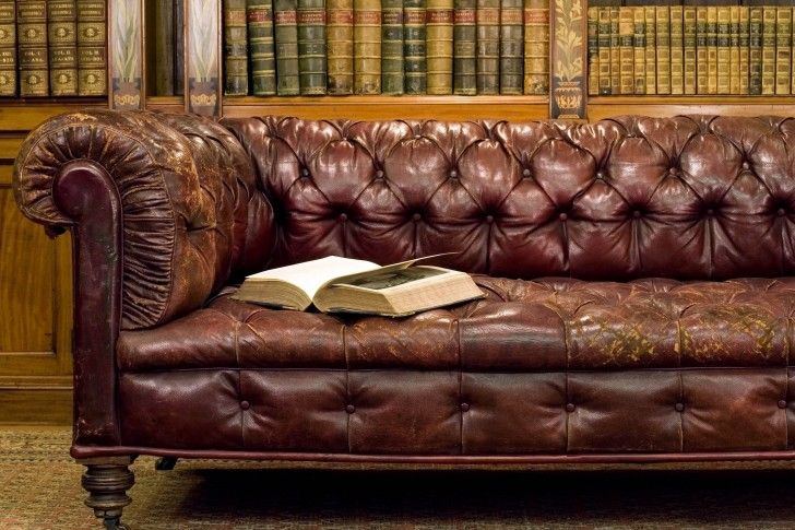 Library Old Leather Sofa Wallpapers Leather Sofa Leather