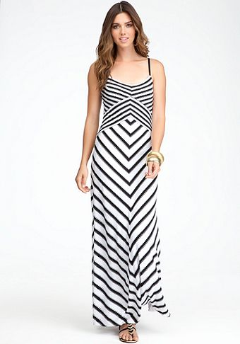 Bebe one shoulder striped maxi dress
