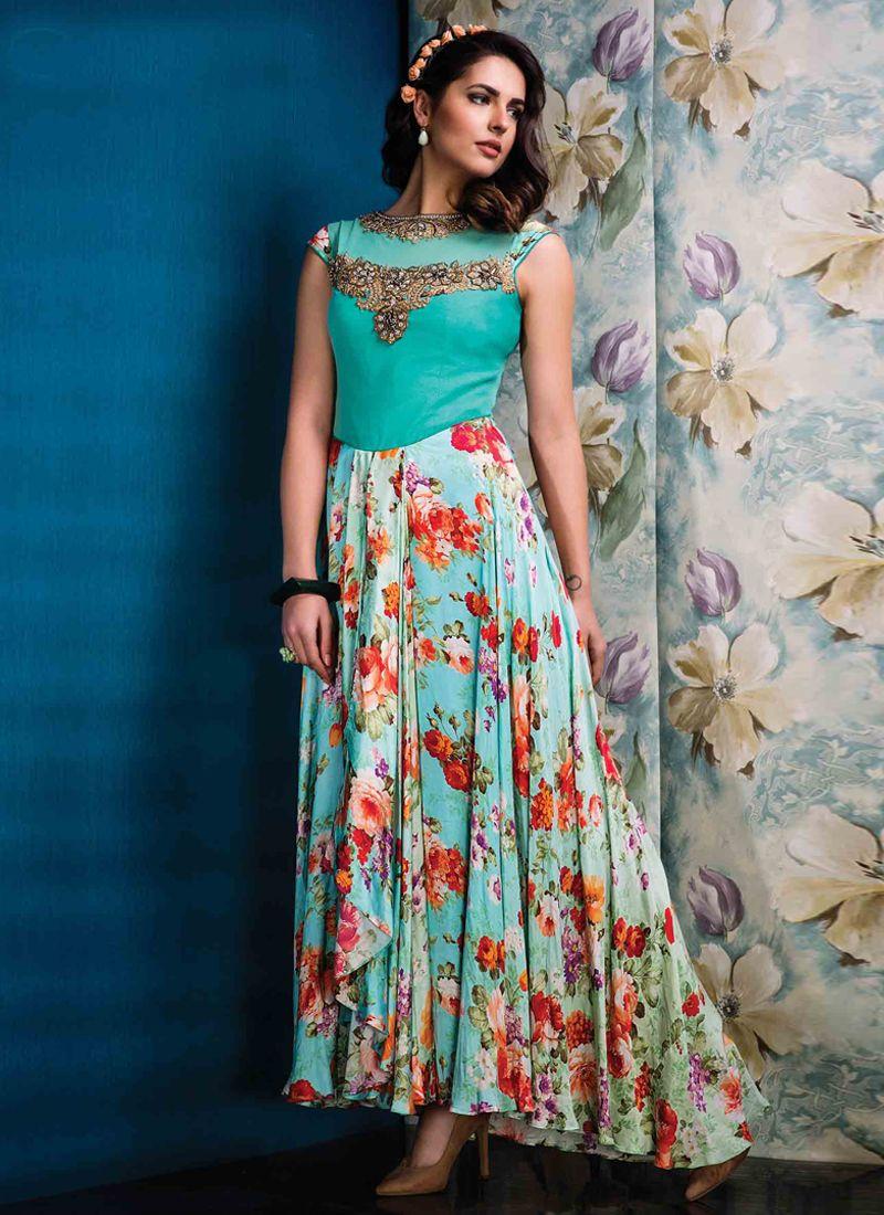 Ruritanian Multi Colour Raw Silk Designer Gown | Designer Gowns ...