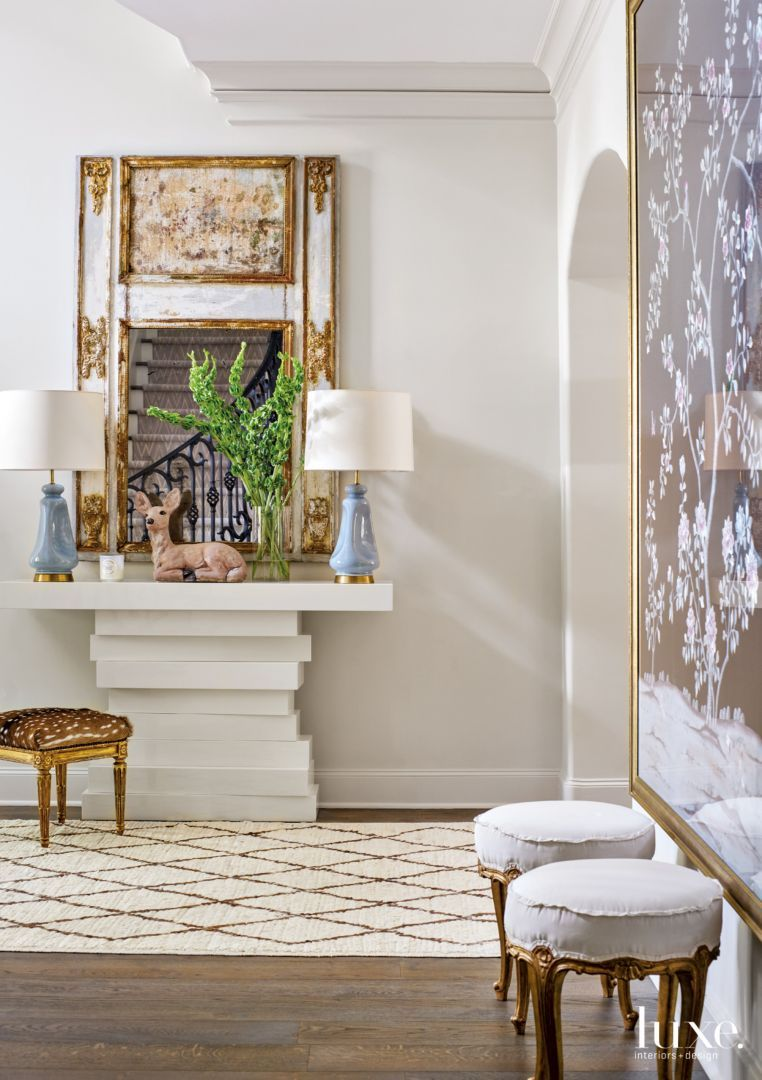 Art deco hallway ideas  Dodson set the stage in the foyer with a console from Cuff Home in