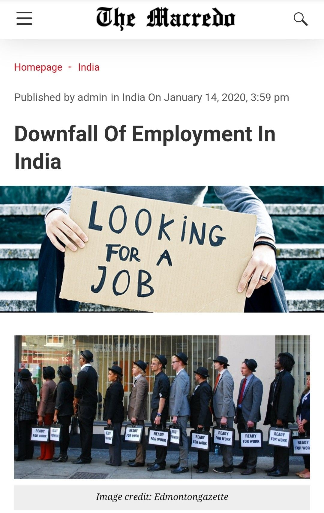 Downfall Of Employment In India in 2020 Structural
