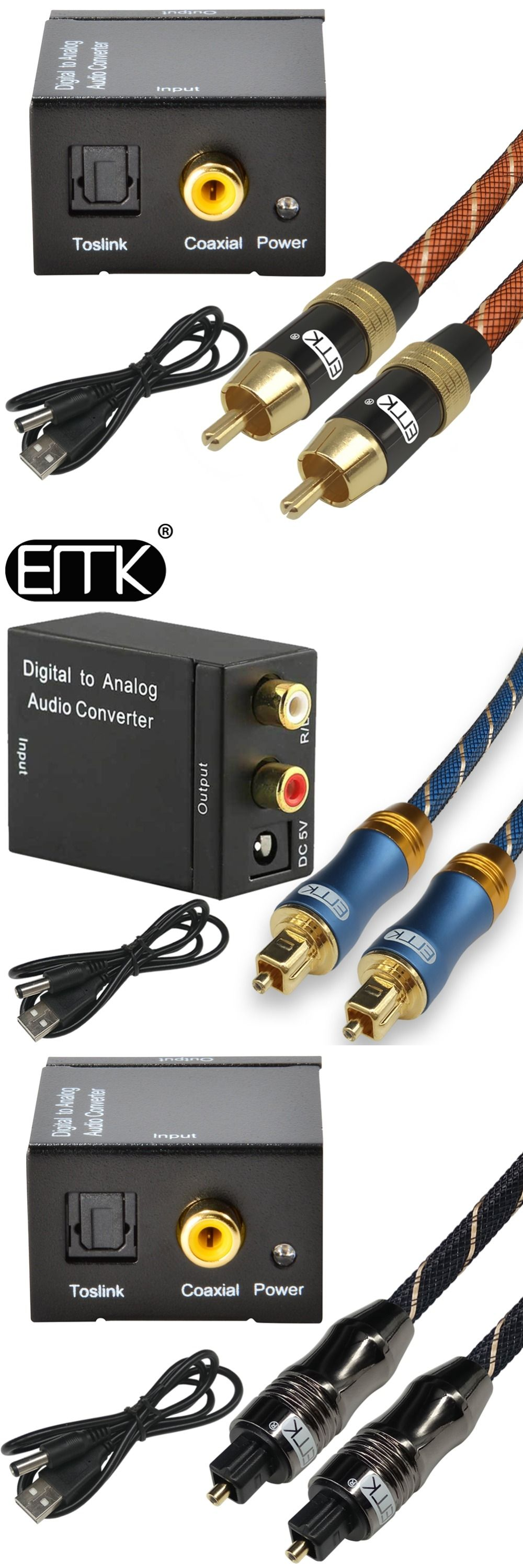 Digital To Analog Audio Converter Adapter Optical Fiber Coaxial Rca Cable Toslink Signal