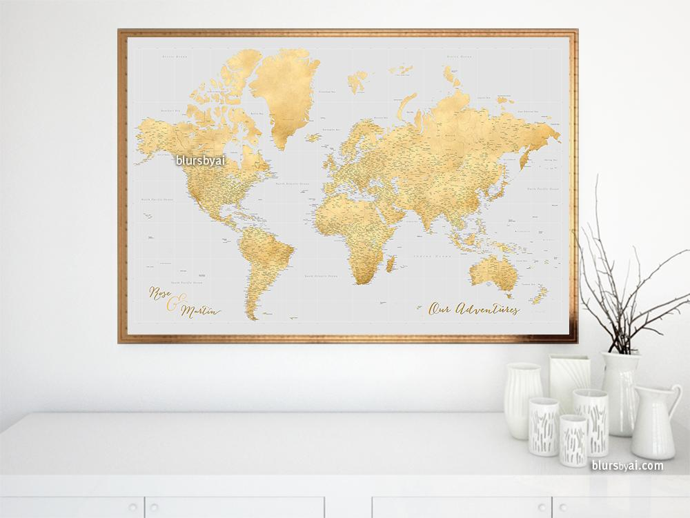 Personalized world map print highly detailed map with cities in personalized world map print highly detailed map with cities in gray and gold gumiabroncs Image collections