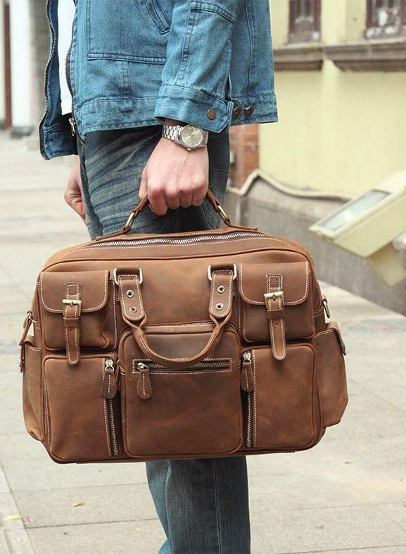Image of Vintage Handmade Antique Leather Business Travel Bag ...