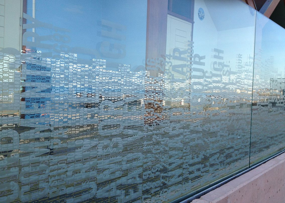 tidal word wave glass balustrade rachel welford in collaboration