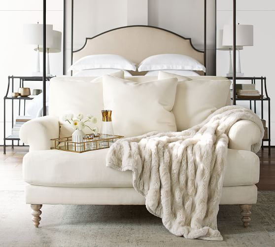 Faux Fur Ruched Throws Upholstered Sofa Metal Canopy