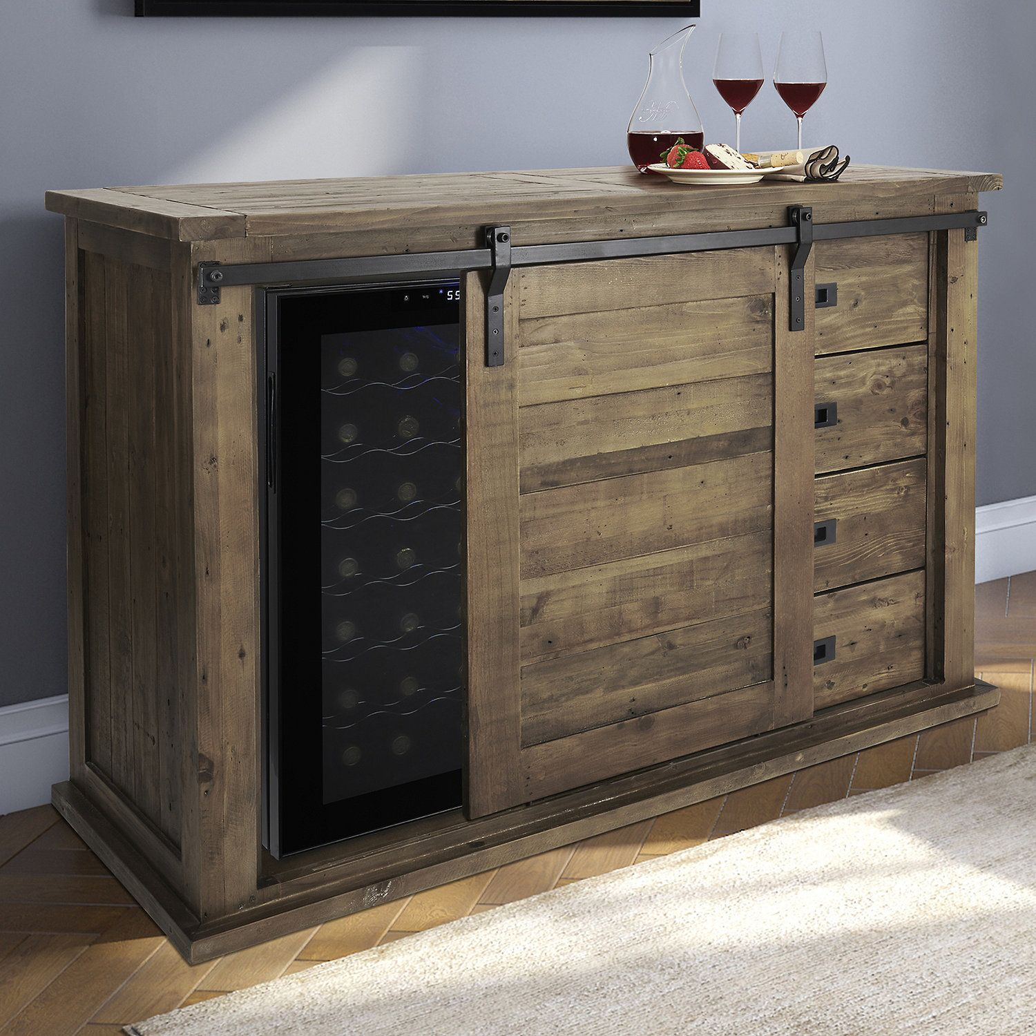 Awesome Mesa Sliding Barn Door Cabinet With Wine Refrigerator In Home Interior And Landscaping Spoatsignezvosmurscom
