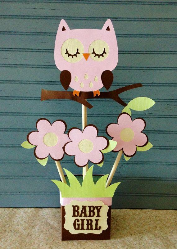 Owl Baby Shower Centerpiece Baby shower centerpieces, Shower - centros de mesa para baby shower