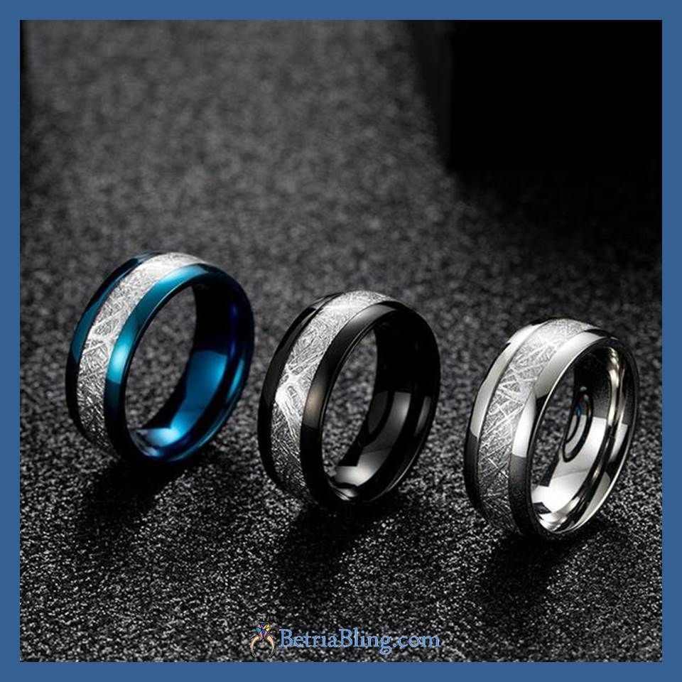 Tungsten Carbide Meteorite Ring Anniversary Gifts For Husband