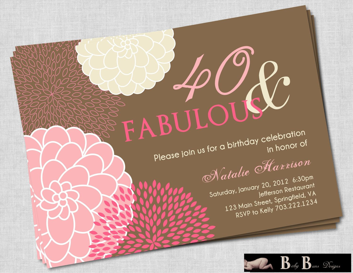 40 and Fabulous 40th Birthday Invitation- Pink & Brown Printable ...