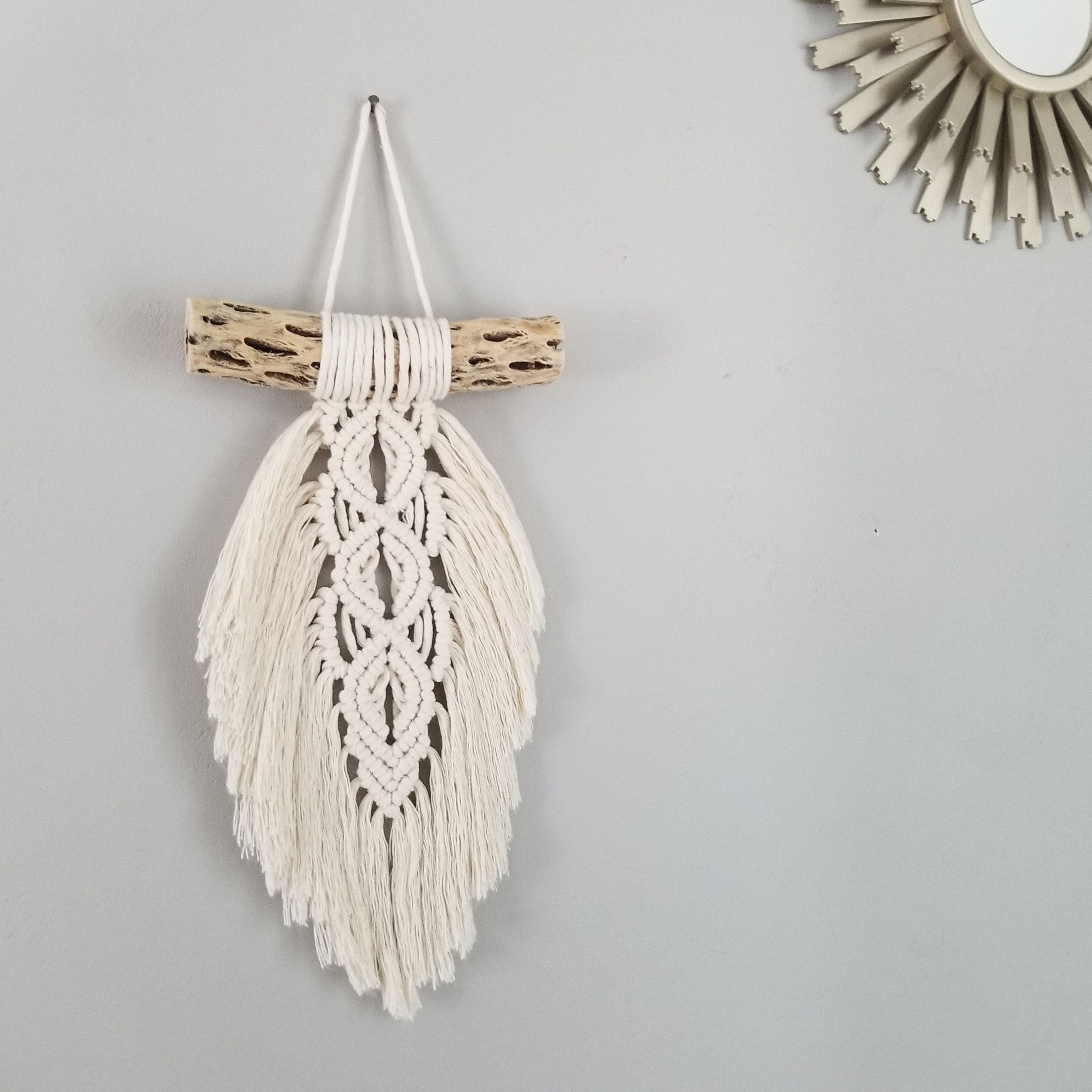 Macrame Feather // Cholla Wood Wall Hanging // Feather Art // Modern Wall Art