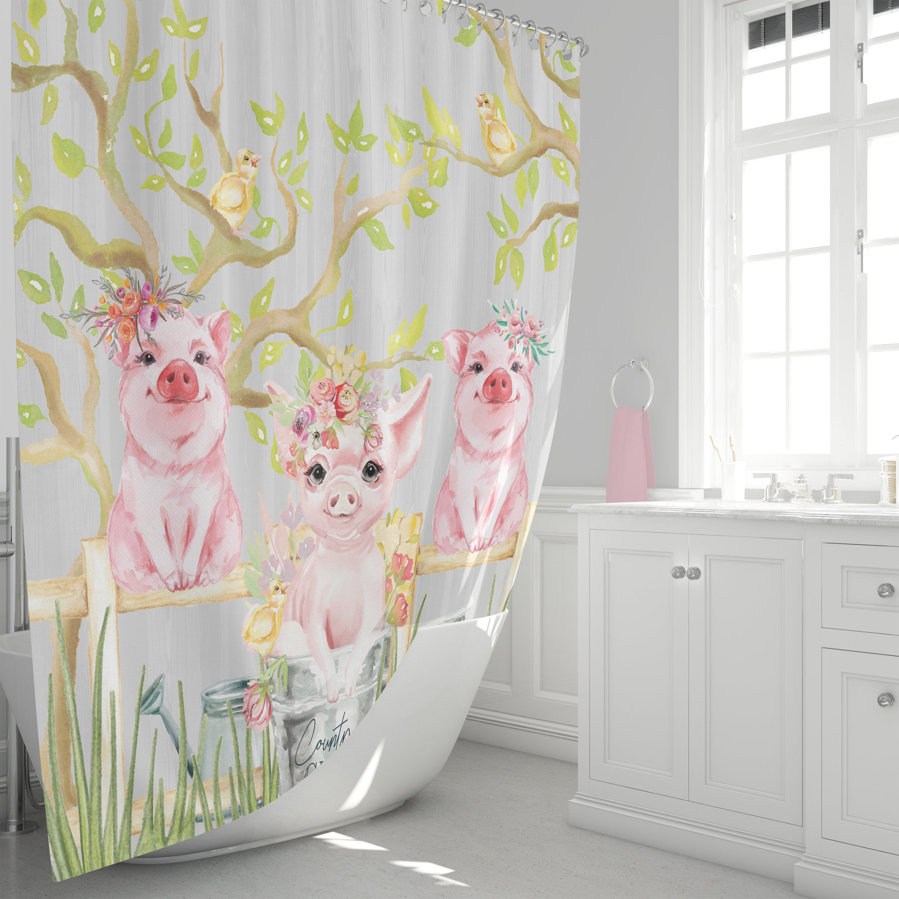Little Pigs Shower Curtain, Country Chic Bathroom Decor