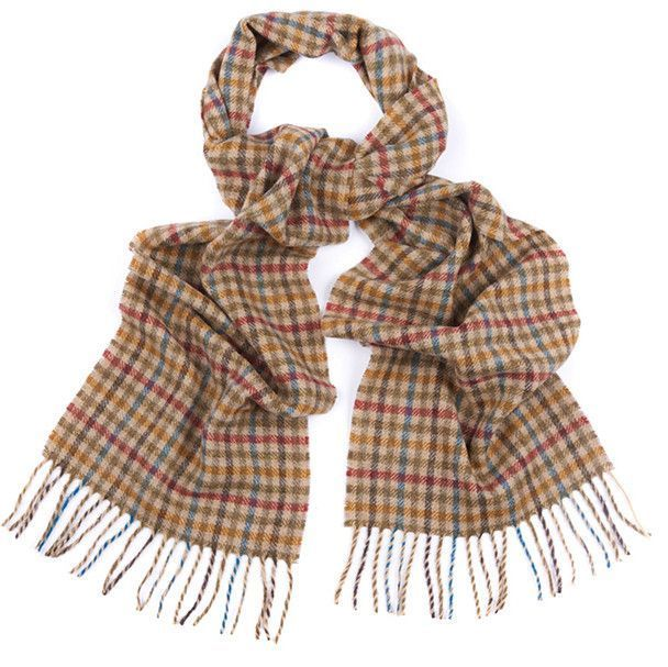 Houghton Check Scarf in Rust Blue Shepherd by Barbour