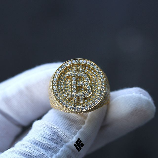 Custom 18K Yellow Gold Bitcoin Ring Fully Iced Out With ...