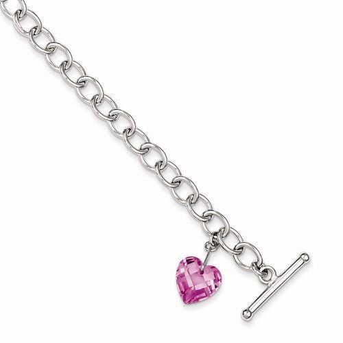 Sterling Silver Pink Cubic Zirconia Heart Bracelet