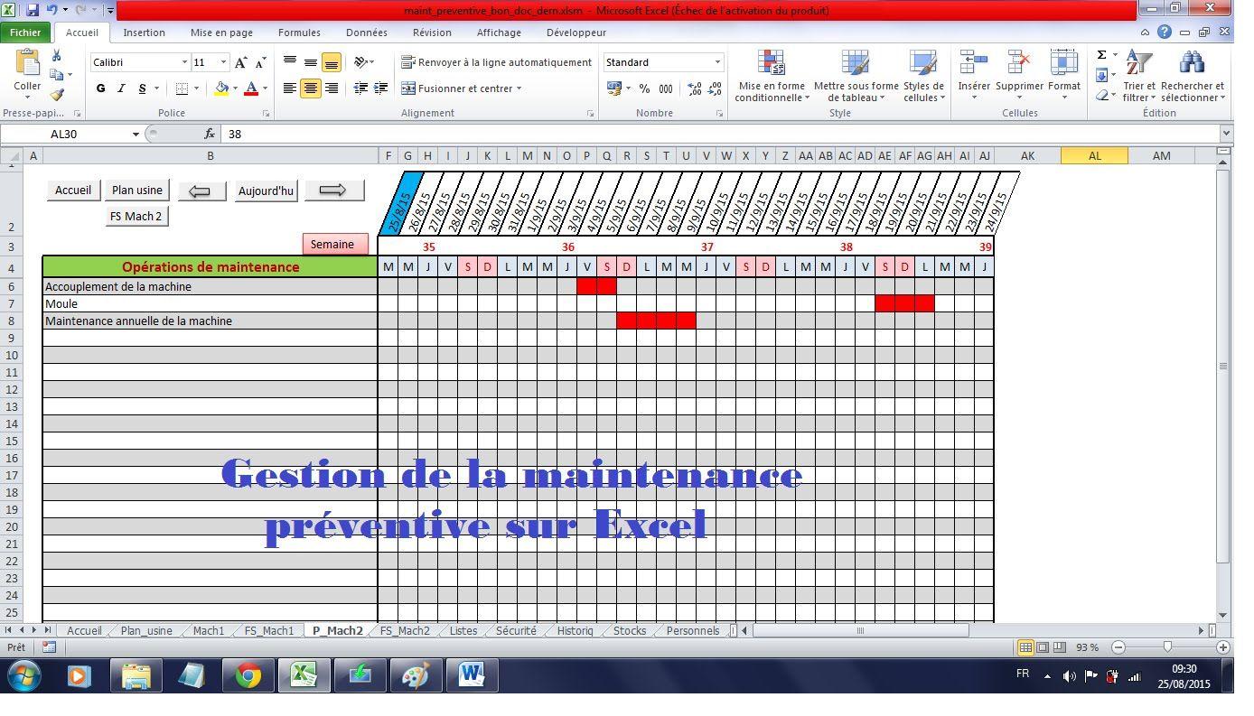 Mise En Place D Une Maintenance Preventive Sur Excel