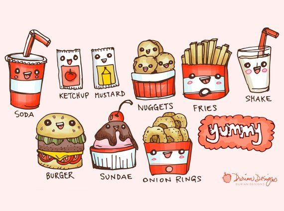 Cute Burger And Fries Clipart Commercial Use Fast Food Clip Art