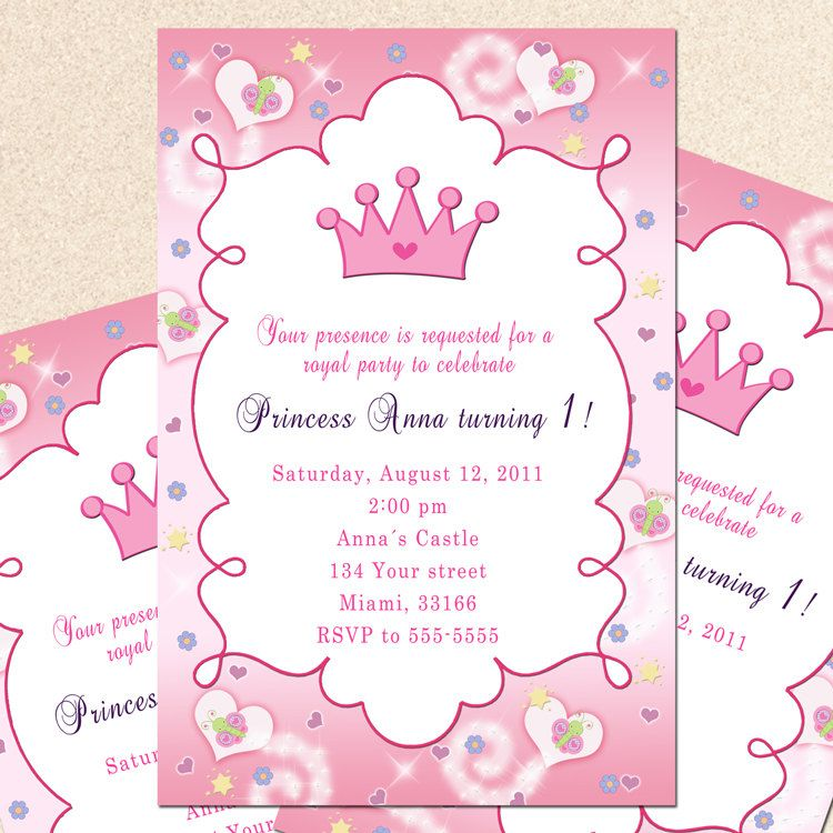 Princess Birthday Invitation Card Butterfly Custom Girl 1st – Princess Party Invitation Ideas