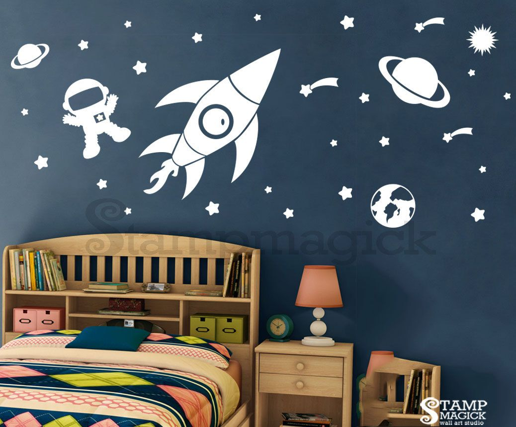 Outer space wall decal rocket vinyl wall decor children for Outer space childrens decor