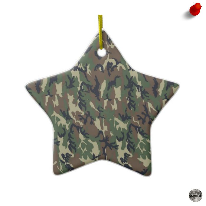 Woodland Camouflage Background Template Ceramic Ornament ...