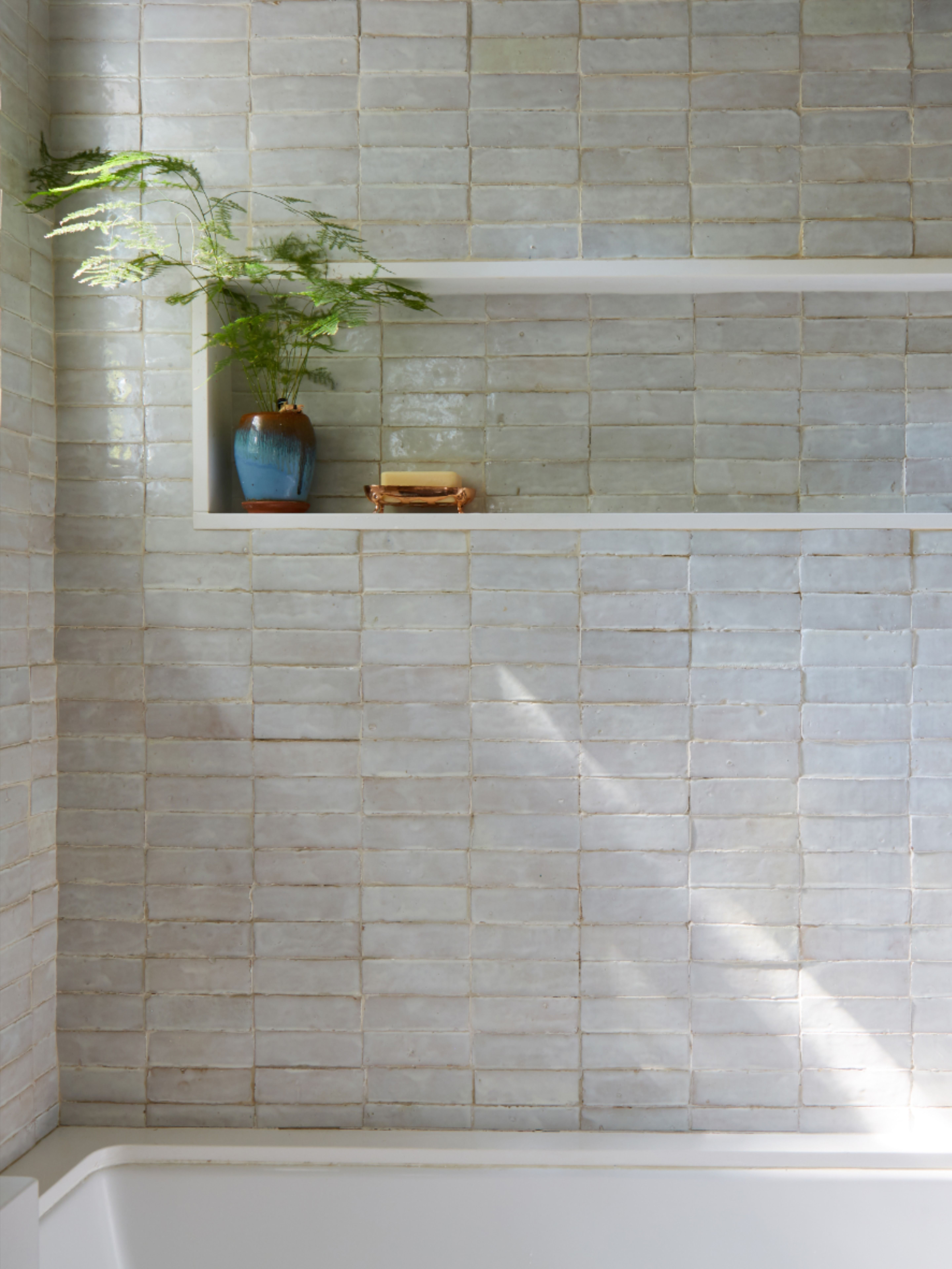 Weathered White Zellige 2 X6 X3 4 Subway White Bathroom Tiles Shower Niche Bathrooms Remodel