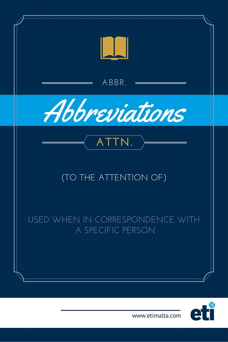 English Abbreviations What Does Attn Stand For