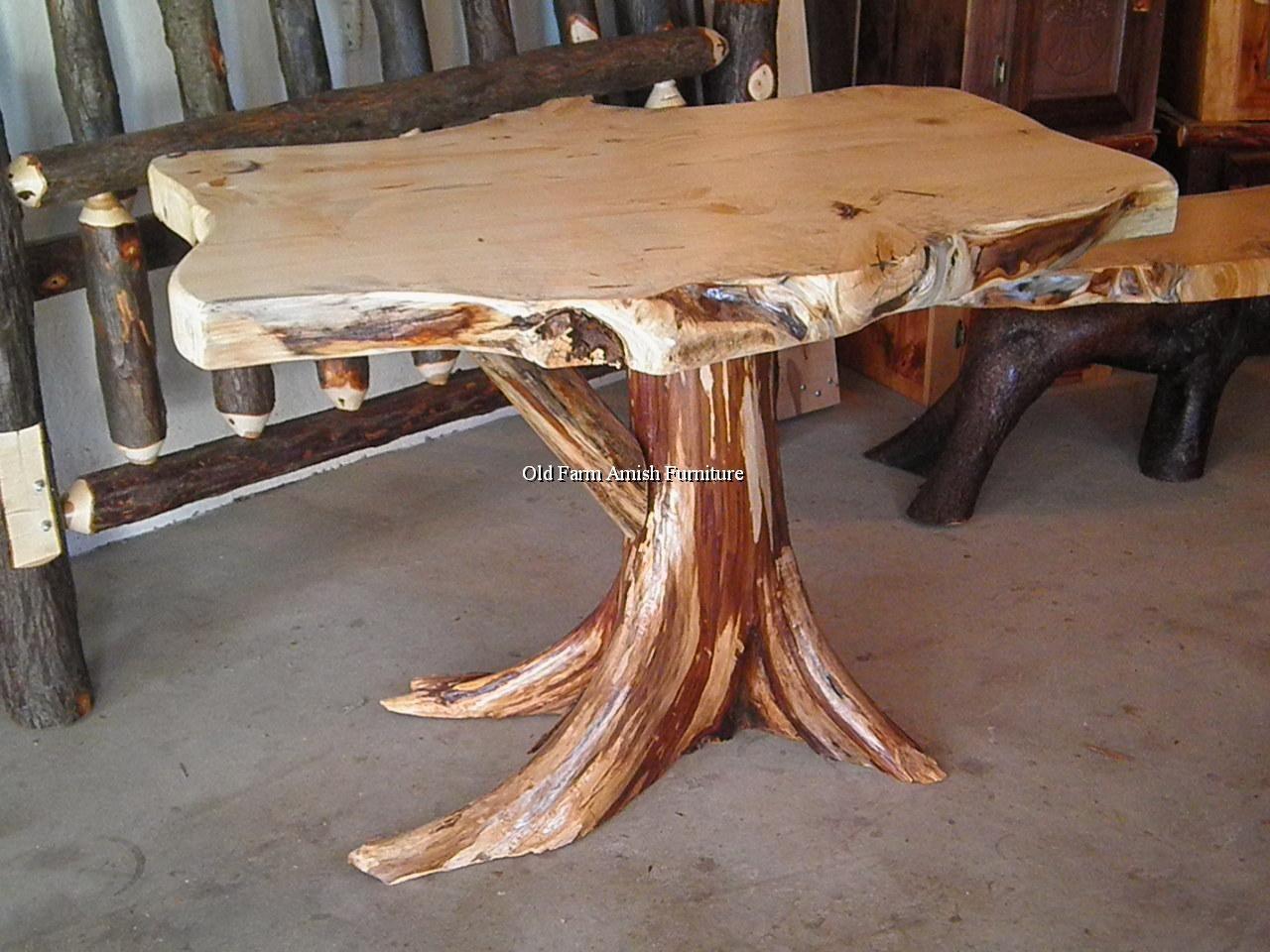 Peeled Cedar Stump With Pine Slab Top Tree Trunk Or
