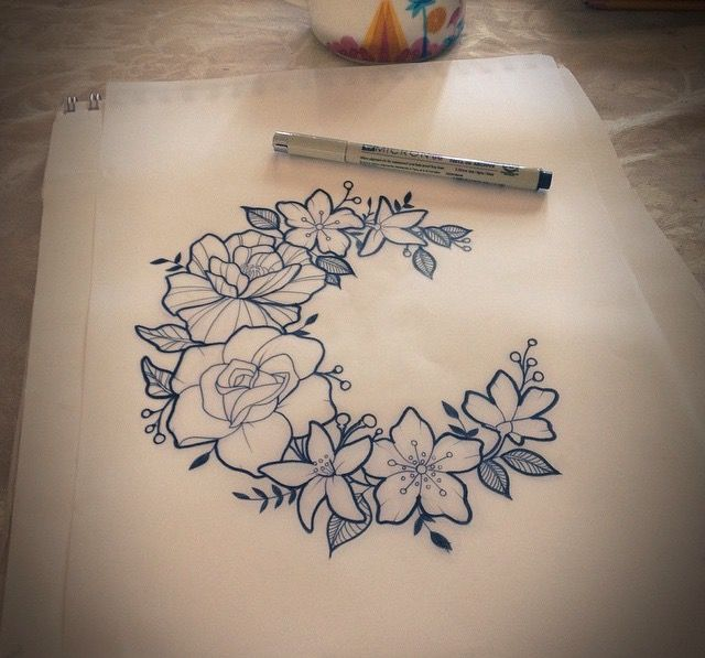 Flower Crest Moon Tattoos Pinterest Tatuajes Ideas De