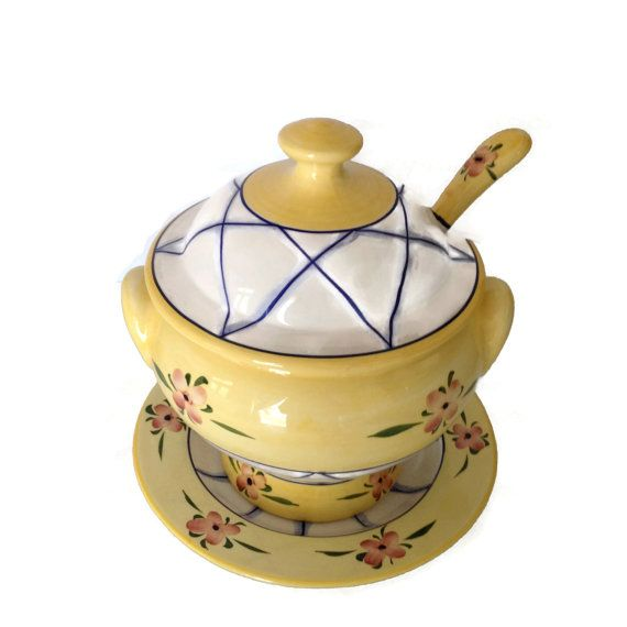 Ceramic Soup Tureen With Plate And Ladle Andrea By Sadek Made Etsy Tureen Cottage Chic Kitchen Serving Dishes