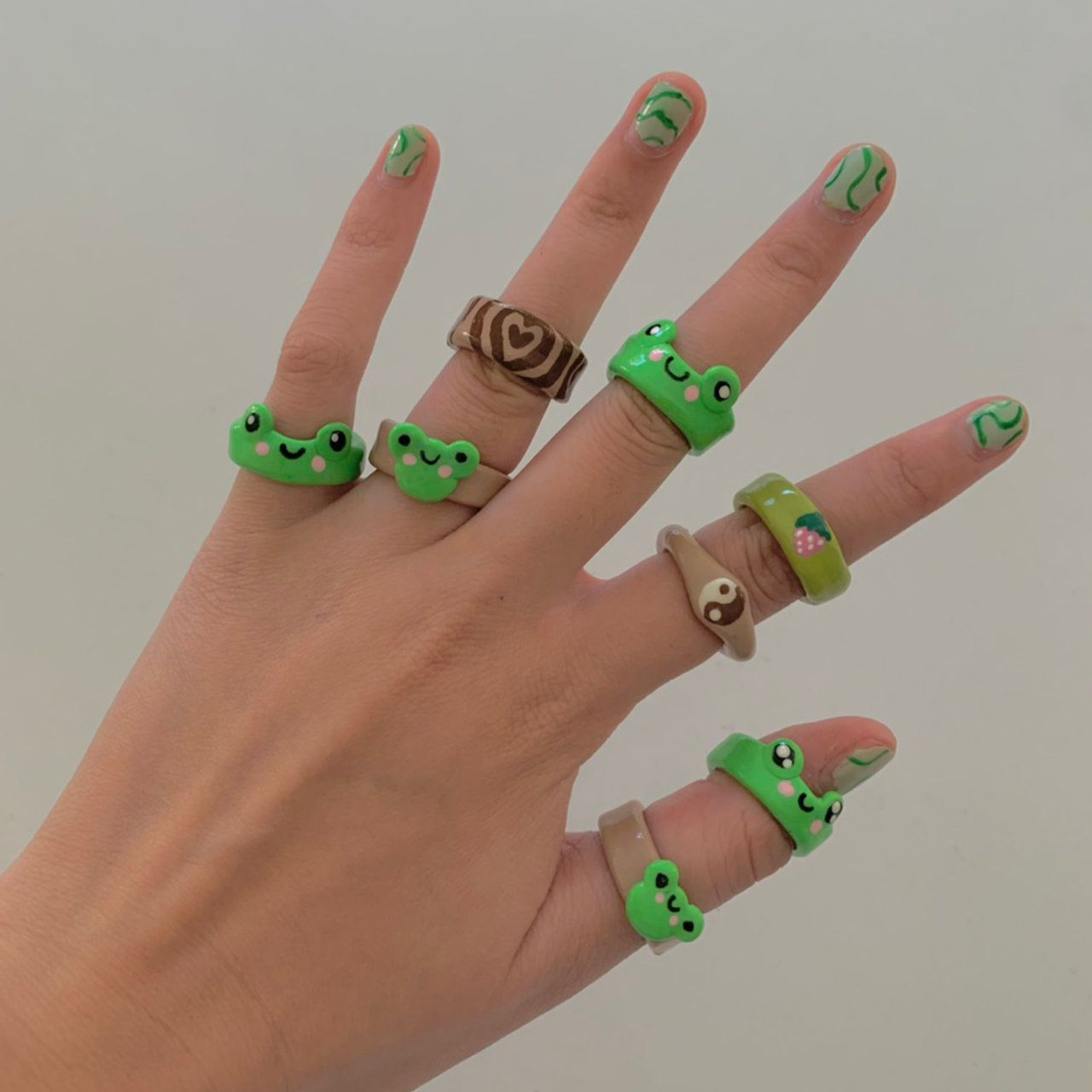 Froggy clay rings!! Super cute and handmade by me!