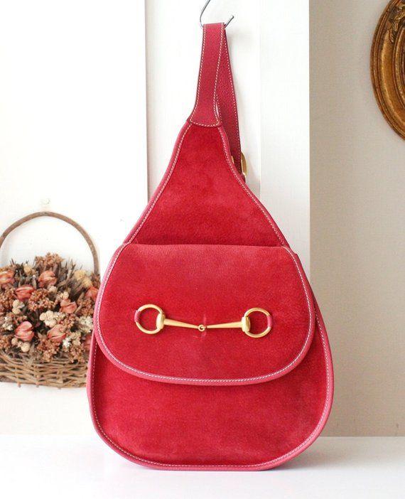 ceba31714535 Authentic Gucci Backpack Red Suede vintage handbag Horsebit Sling ...
