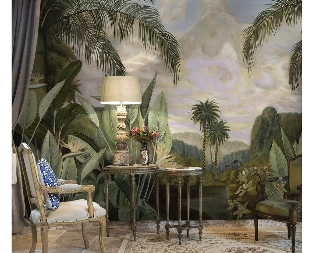 Vintage Forest with Banana Leaves Wallpaper Mural