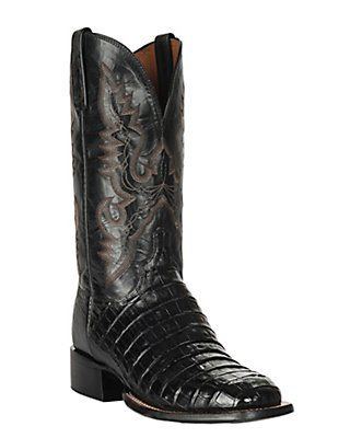 d97ce5d912f Lucchese 1883 Men's Black Belly Caiman Tail Exotic Square Toe Boots ...
