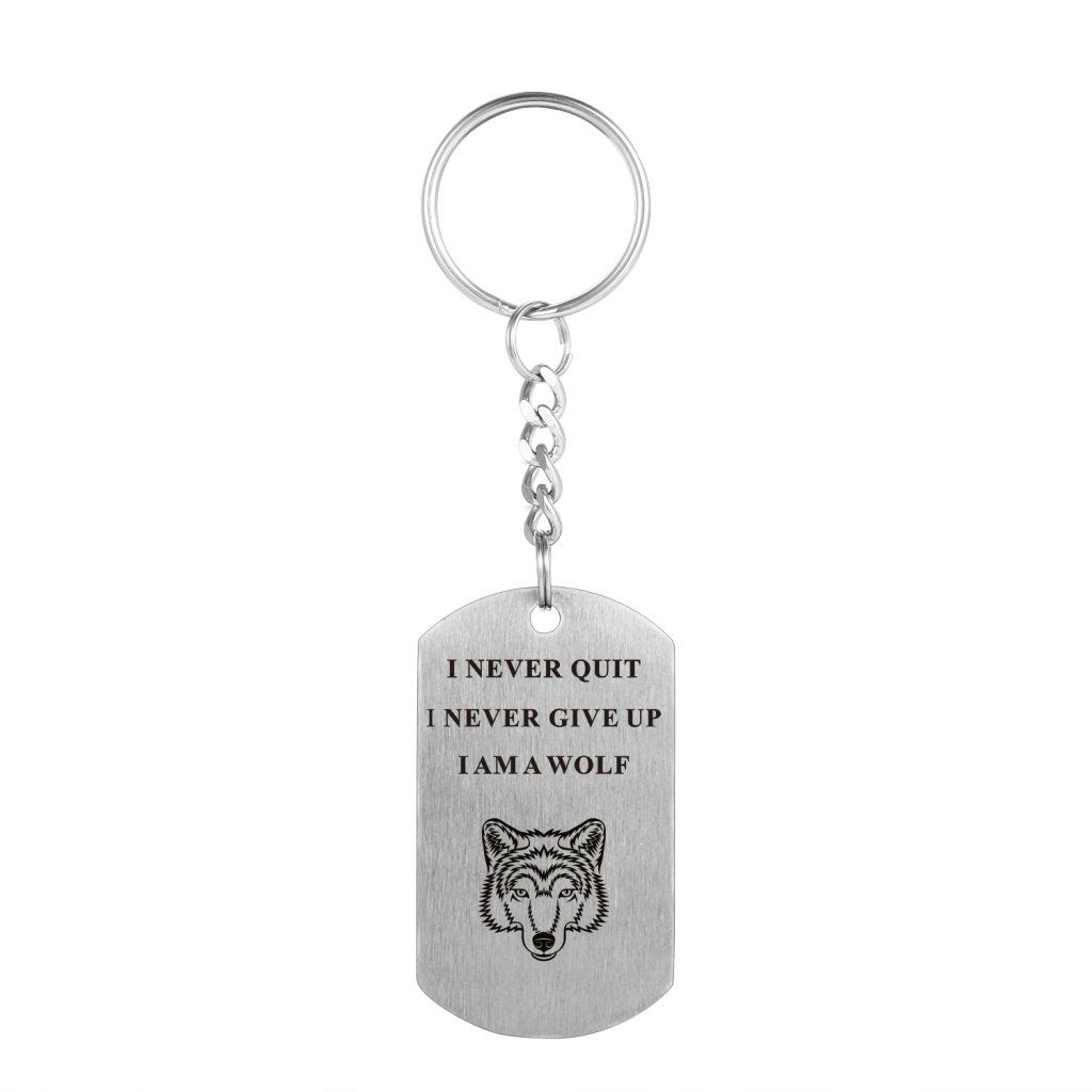 ca2627be0 I Never Give Up I Never Quit Wolf Pendant Stainless Steel Necklace  Inspirational Jewelry Personalized Jewelry Gift for Boys Girls Women Men  Rectangle ...