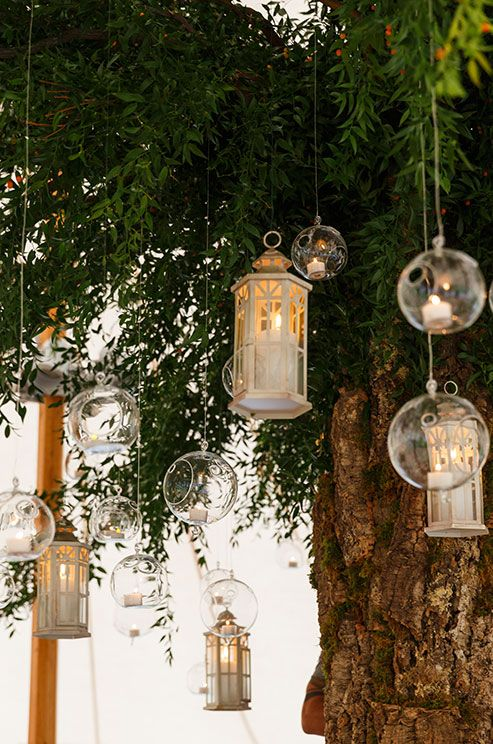 Hanging Candle Lanterns For An Outdoor Wedding