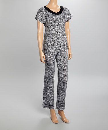 9c6ba9f45f Loving this White   Black Damask Lace Pajama Set - Women   Plus on  zulily!   zulilyfinds