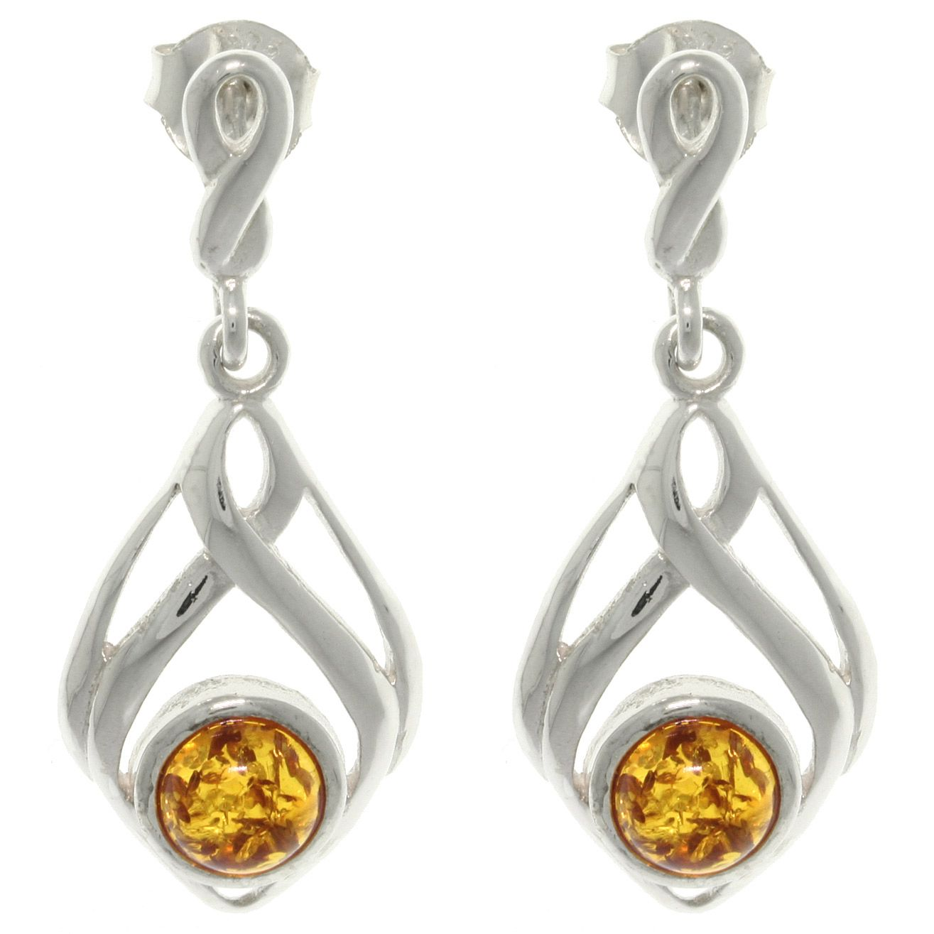 These gorgeous earrings showcase exquisite bezel-set Baltic amber gemstones. The uniquely designed earrings are crafted of highly polished .925 sterling silver and offer a unique, intertwining design that dangle under post backs with butterfly clasps.
