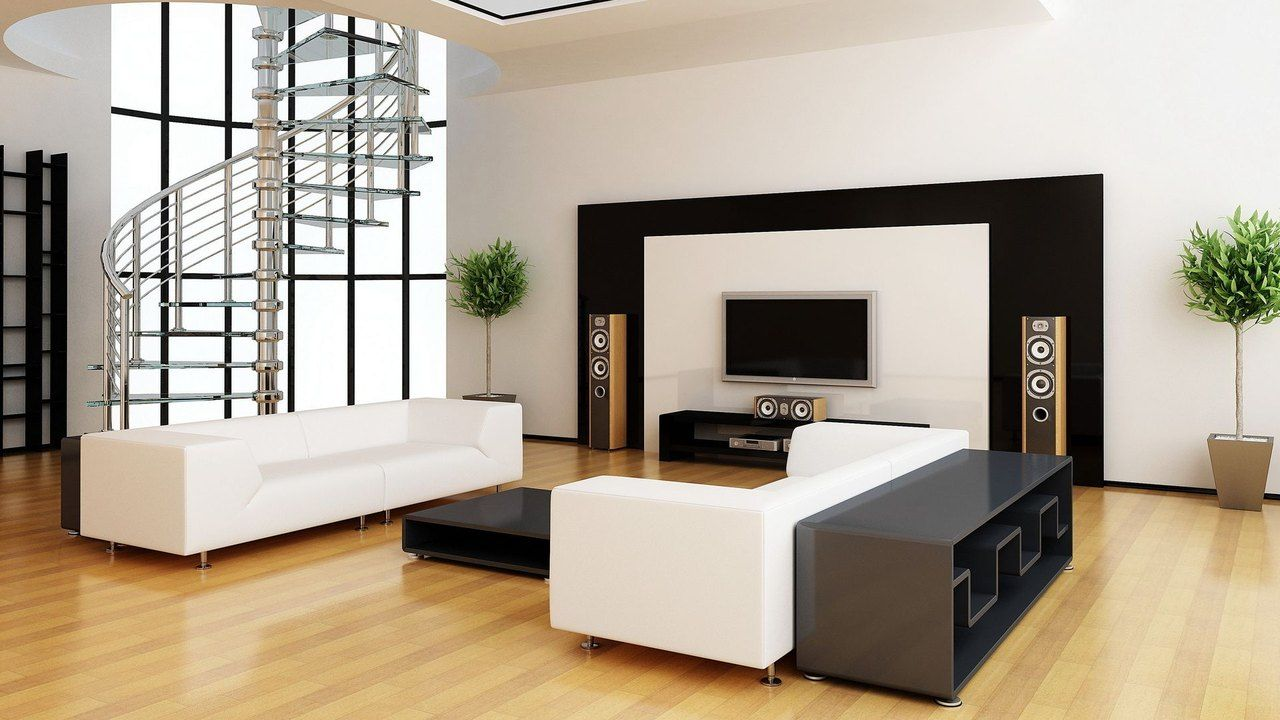 Black And White Interior With Wall Mounted TV Idea , Attractive Wall Mount  TV Ideas For Living Room With Striking Design In Living Room Cate.