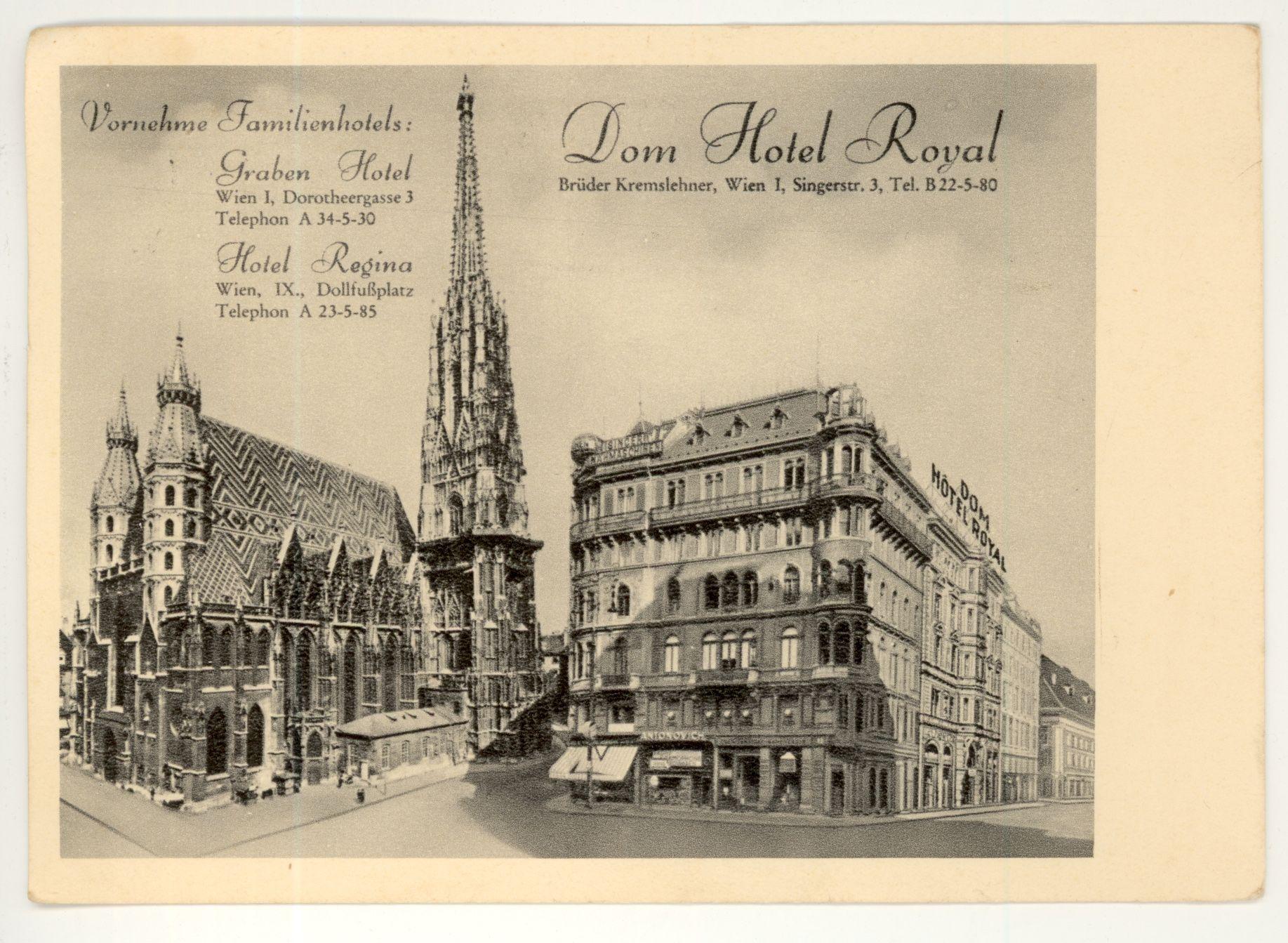 Card From Dom Hotel Royal Vienna Austria Poststamp 1936