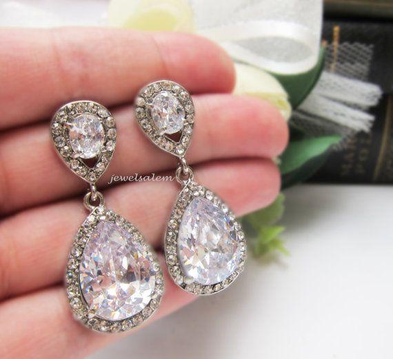 87668d04ab8cb Silver Bridal Earrings Wedding Jewelry Rhinestone Clear Crystal Drop ...