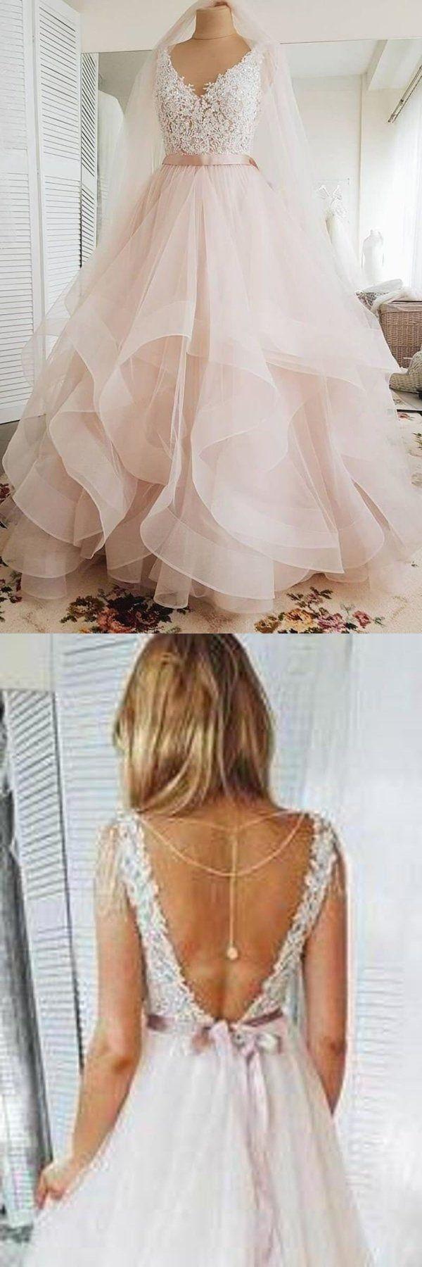 Eine Linie erröten rosa Spitze Schatz rückenfreie mehrschichtige Organza Strand Brautkleider