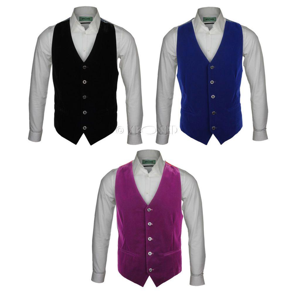 69b8a8b9981 Details about Mens Slim Fit Blue Black Purple Soft Velvet Waistcoat ...