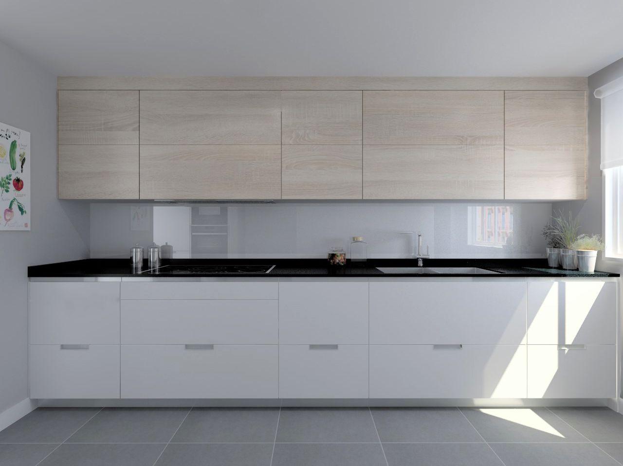 Cocina santos modelo minos laminado seda blanco y Cocina blanca encimera granito negra