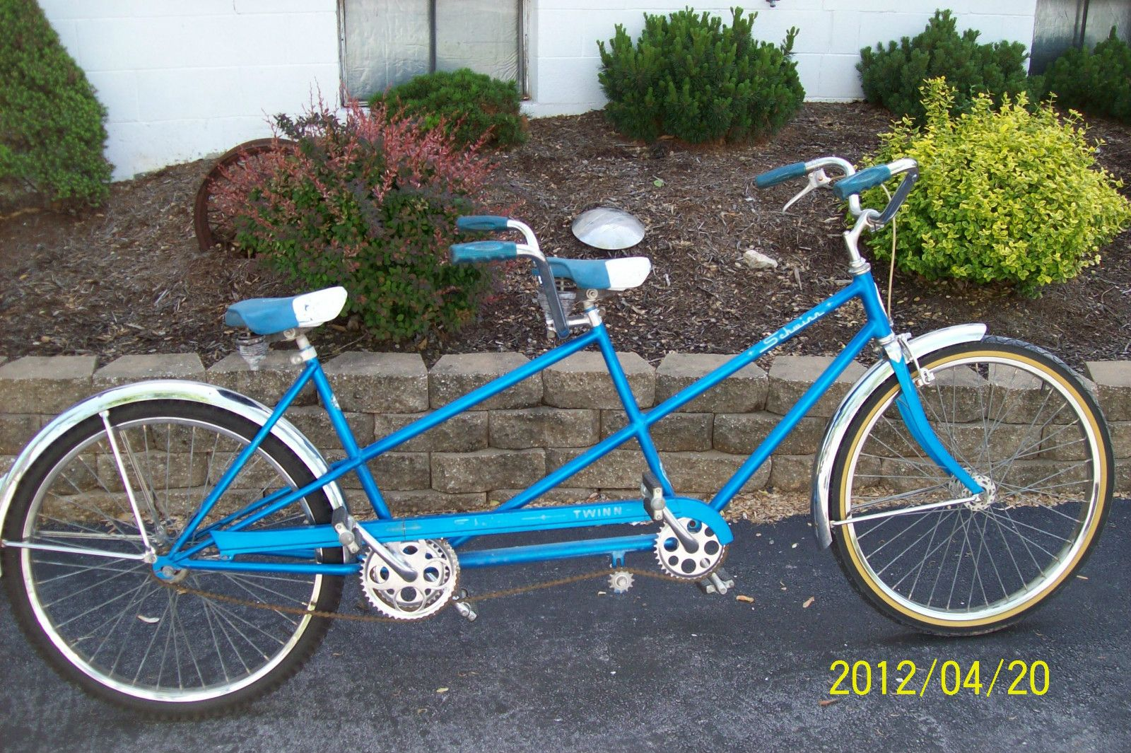 7fee23b7d50 Details about ORIGINAL VINTAGE SCHWINN TWIN TANDEM BLUE BICYCLE BIKE ...