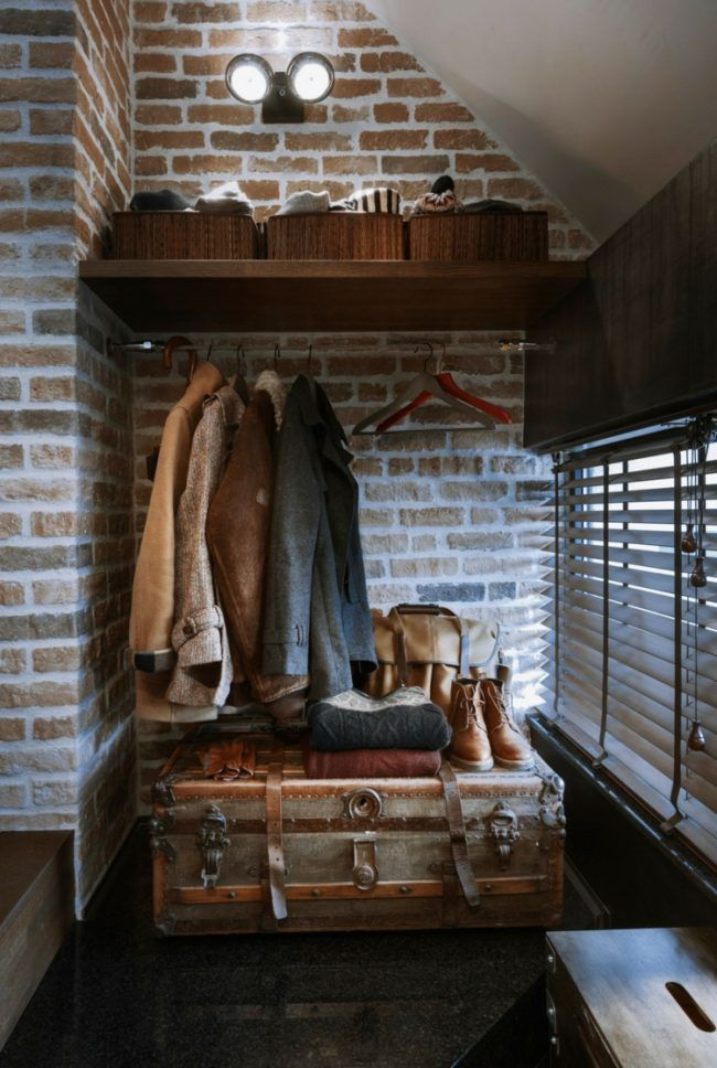 loft beton klinker garderobe truhe akzent retro jalousien ...