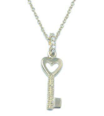 Small Heart Top Key Pendant-18'' CHELINE. $35.99